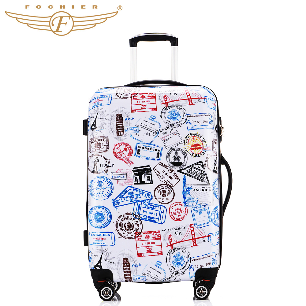 13d8fc869f38 ABS PC Printed Hard Shell Designer Luggage